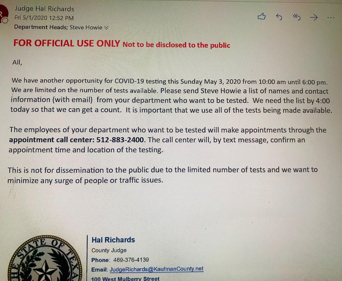 Kaufman County Judge Hal Richards COVID-19 email