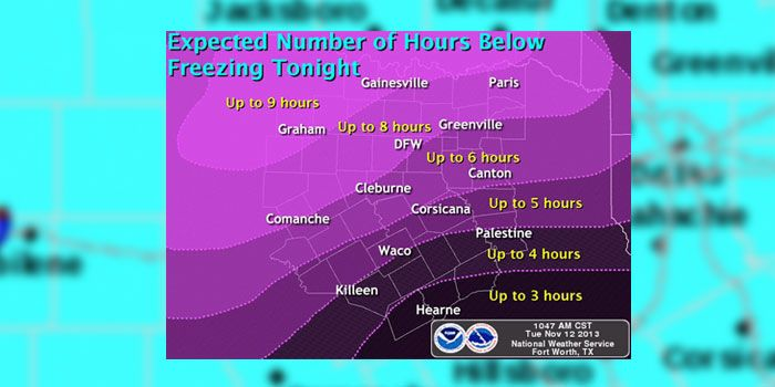 First Freeze Warning issued for Kaufman County and North