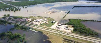 Aerial photos of East Fork Trinity River flooding through Kaufman County
