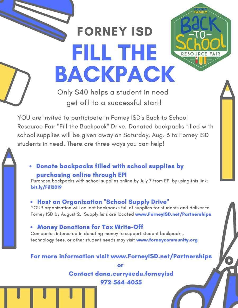 Forney ISD supplies 2019 Organizations