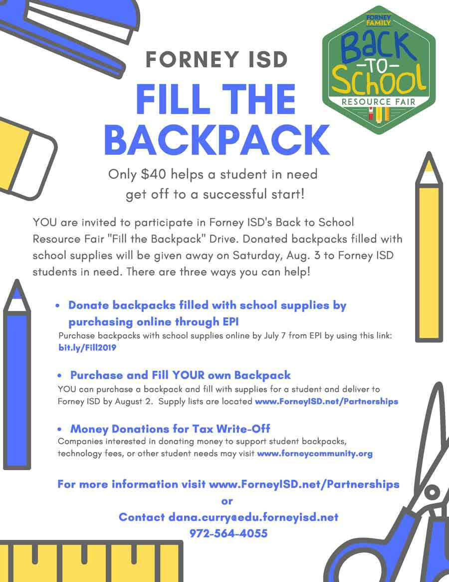 Individual Forney ISD supplies 2019 Organizations