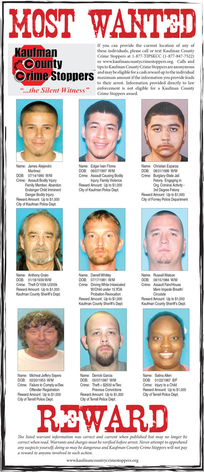 October 2017: Nine featured on Kaufman County's Most Wanted