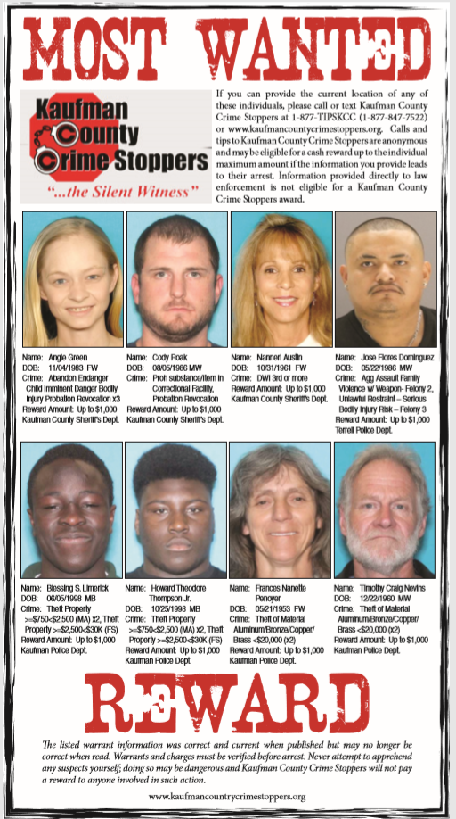 July 2018: Kaufman County's Most Wanted | Crime | inforney com