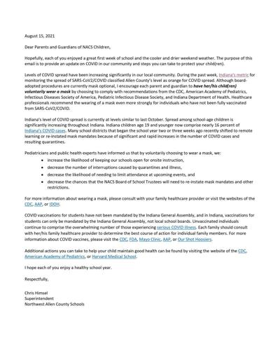 NACS superintendent encourages voluntary use of masks in schools in letter to parents, guardians