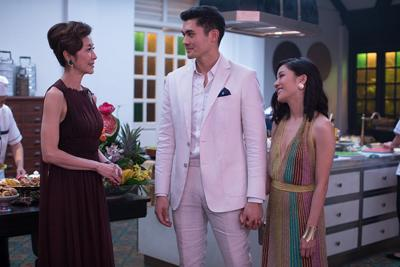 """Michelle Yeoh, Constance Wu, and Henry Golding in """"Crazy Rich Asians"""""""