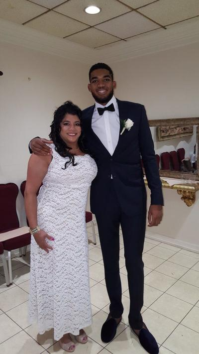 Jacqueline Towns (left) with her son, Minnesota Timberwolves star, Karl-Anthony Towns.