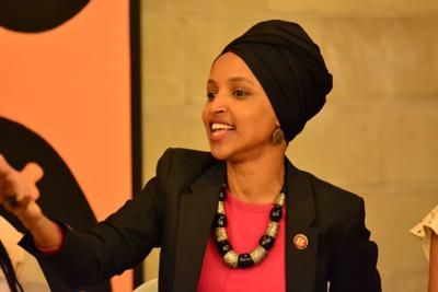 Rep. Ilhan Omar (D-Minn.) during an April 24 town hall on gender pay inequality at La Doña Cerveceria in North Minneapolis