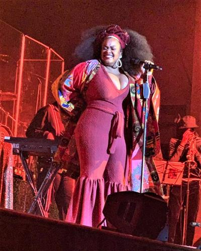 Jill Scott all smiles on stage at The Fillmore in Minneapolis.
