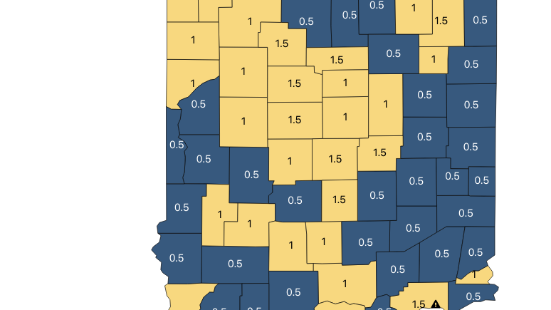 All Yellow: All of northeast Indiana showing 'moderate' COVID-19 activity