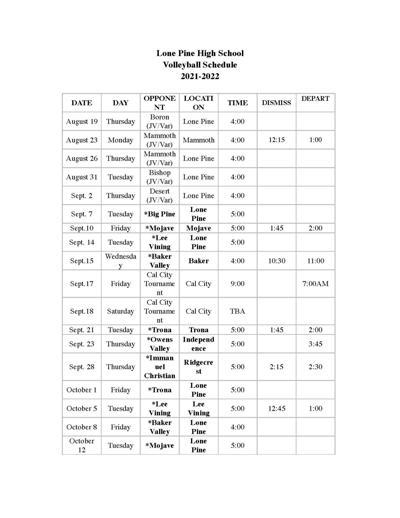 Lone Pine High School volleyball schedule 2021