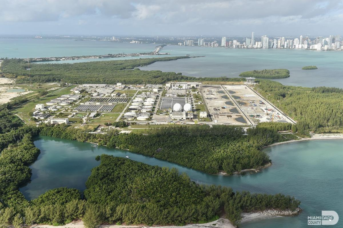 Aerial view of the Virginia Key Central District Wastewater Treatment Plant