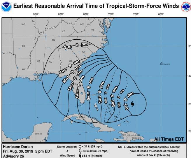 5 pm advisory timing forecast tropical storm winds