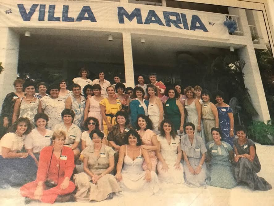 The ladies' first reunion in 1987 after finding each other twenty years later thanks to communicating via the local radio station in Miami.