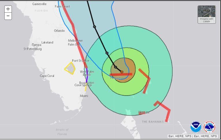 5 pm Monday advisory interactive map showing possible land impact