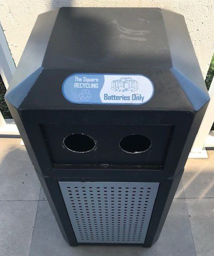 Recycle used batteries at the Square Shopping Center