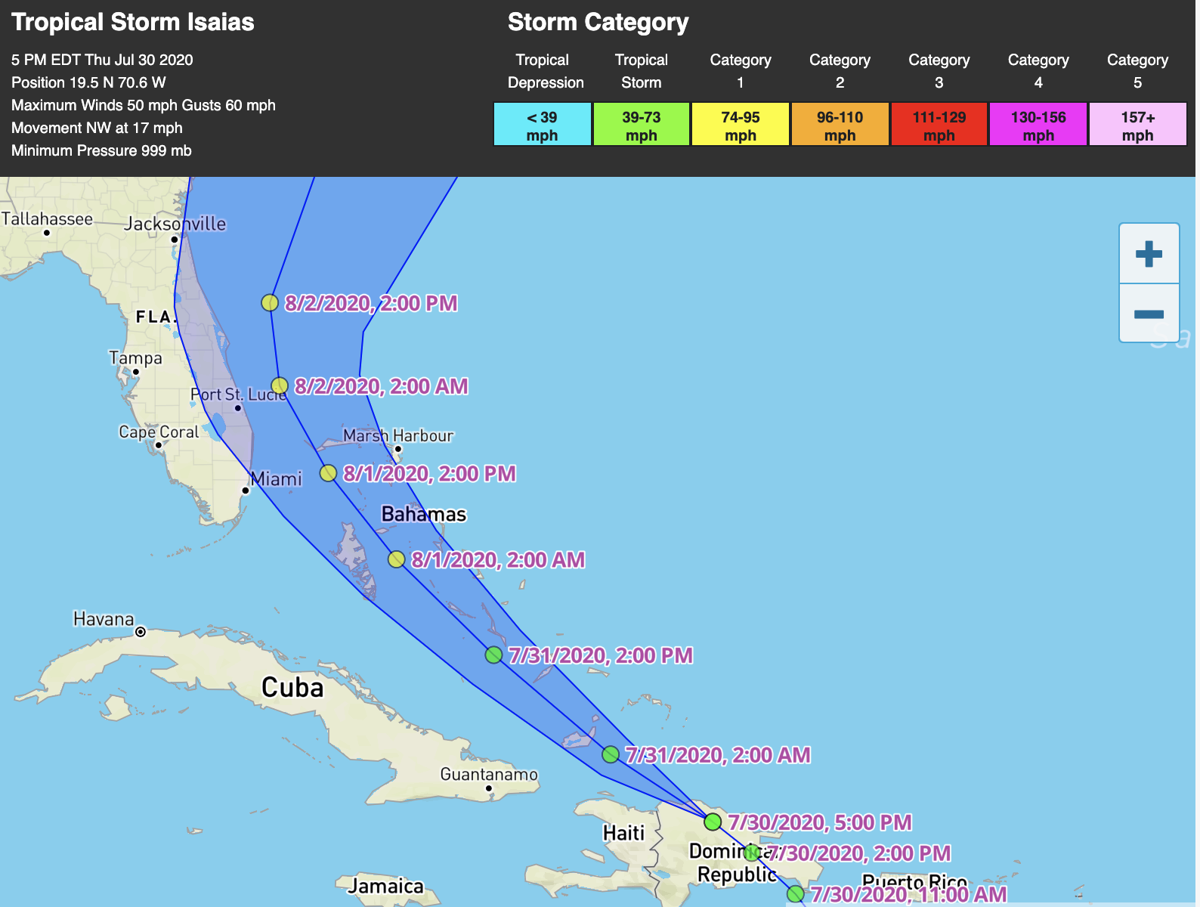 Tropical Storm Isaias forecasted to become a hurricane Friday
