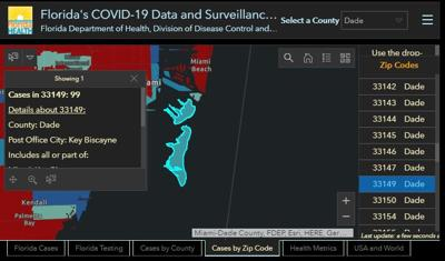Key Biscayne's zip code of 33149 reports 99 cases