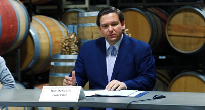 Gov. Ron DeSantis spoke with brewery operators in Pinellas County on Sept. 3