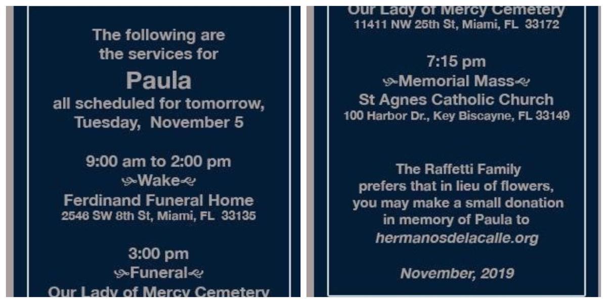 Paula Raffetti Services, November 6, 2019