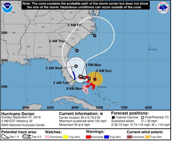 5 am Sunday revised National Hurricane Center revised track