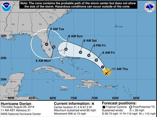 National Hurricane Center 11:00 track