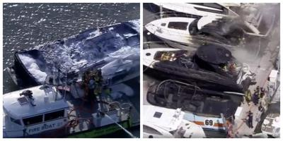 12 yachts burn in series of mysterious marina fires in Key Biscayne and Virginia Key