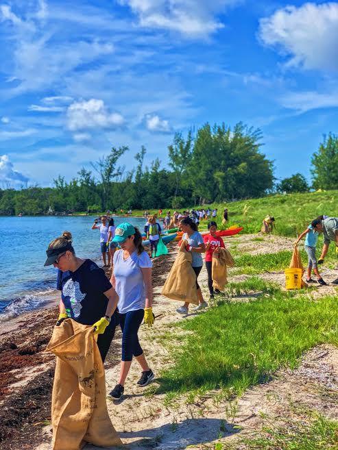 Volunteers picked up trash