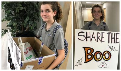Isabel collects donations at 104 Crandon Blvd.