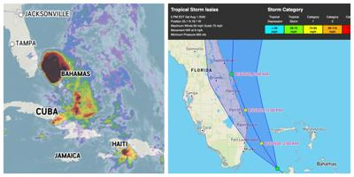 Isaias weakens, downgraded to a tropical storm but expected to re-strengthen to a hurricane overnight.