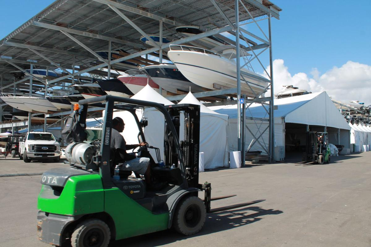 Operations in preparation for the boat show opening last February.