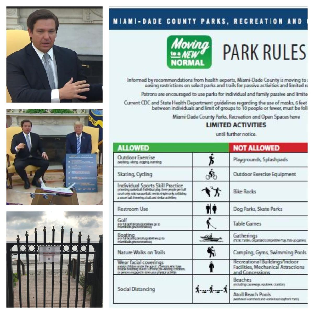 Miami-Dade County to open Parks. DeSantis visits White House