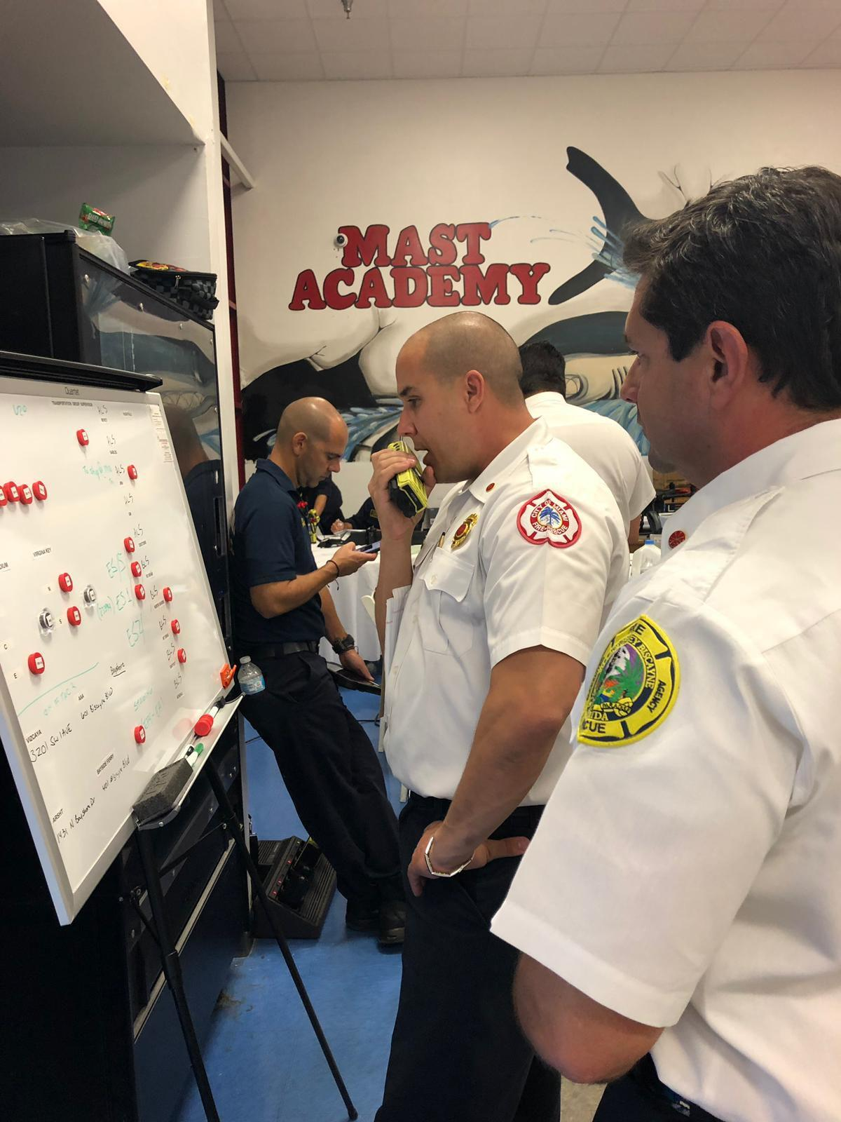 Deputy Chief Osorio at the Unified Command Post at Mast Academy.