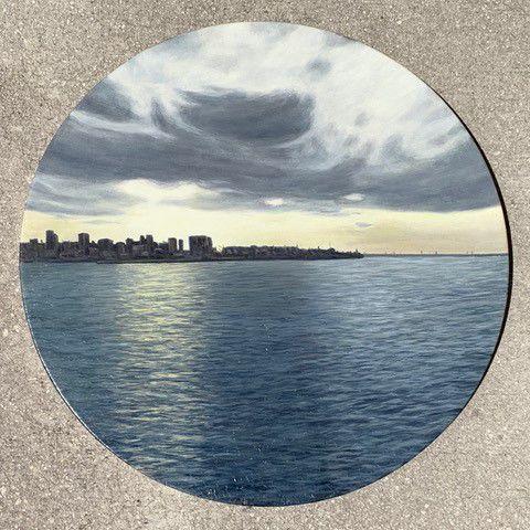 "Adrian DOURA  Oil on canvas 17.75"" diameter Guanabara Bay and Rio de Janeiro Downtown"