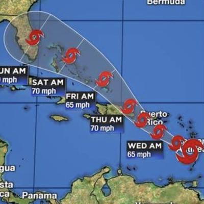 Tropical Storm Dorian - 11:00 a.m. advisory track