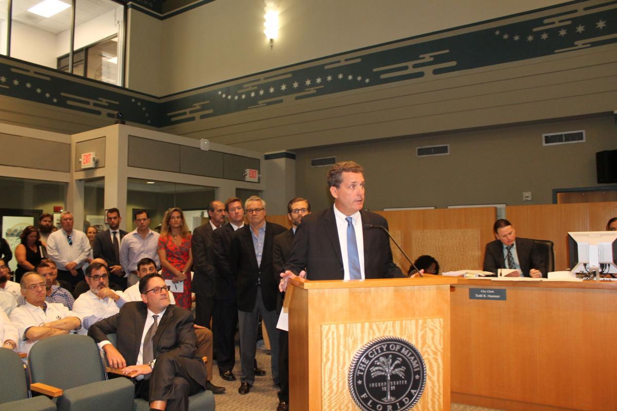 Mayor Michael Davey addresses the City of Miami Commission