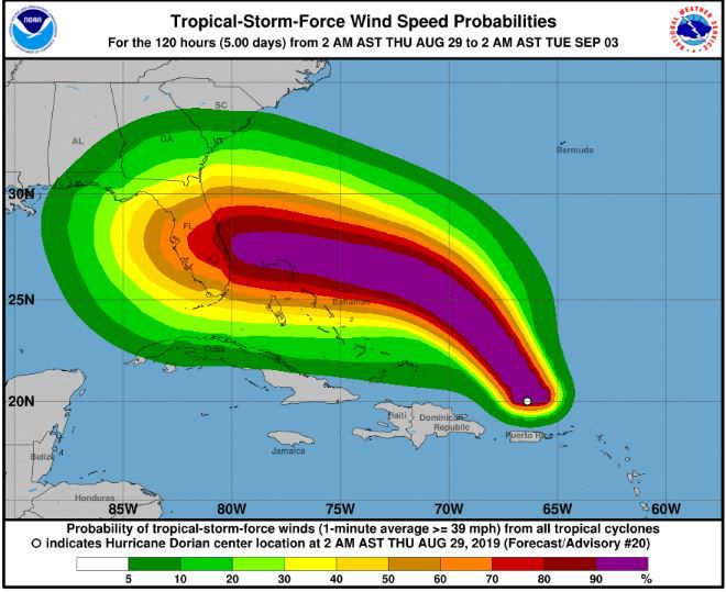 5:00 a.m. Thursday 8-28 advisory wind probability from National Hurricane Center