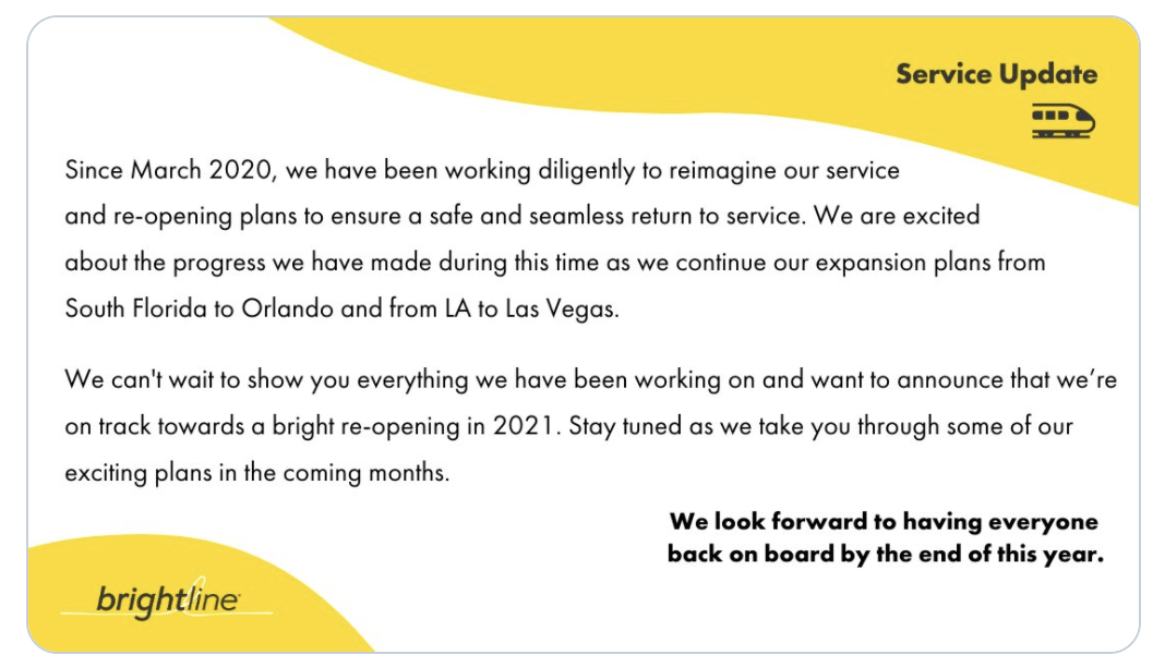 Brightline is one step closer to its reopening plans.