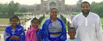 Natalee and Ike Anderson with their children Jasmine, left, Kaylee and Layton at the Taj Mahal in Agra, India. Some of Natalee's ancestors were from India, and she and Ike were inspired to visit and expose their children to the cultures, tastes and smells of history there. (Photo courtesy of Ike Anderson)
