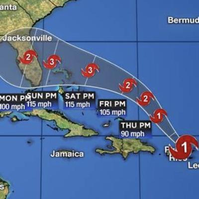 Track as of the 5:00 p.m. Wednesday Aug 27 advisory