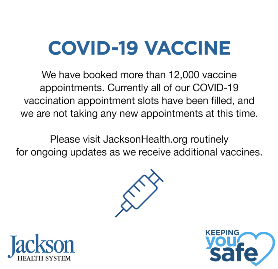 Jackson books over 12,000 vaccination appointments by Noon Tuesday