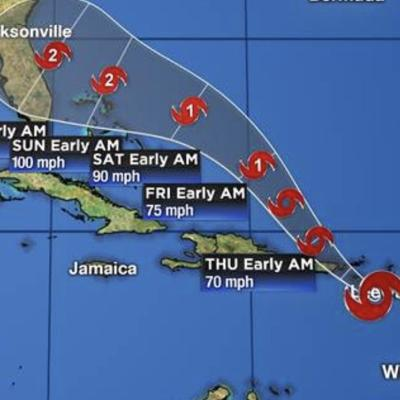 5:00 am Wed advisory and revised track