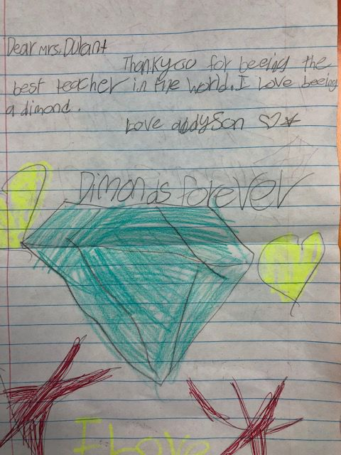 A grateful thank you note from Durant Diamond, Addyson
