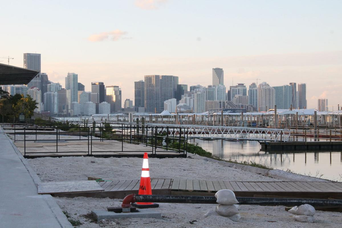Downtown Miami skyline is the backdrop for the temporary boat docking stations at the 2019 show.