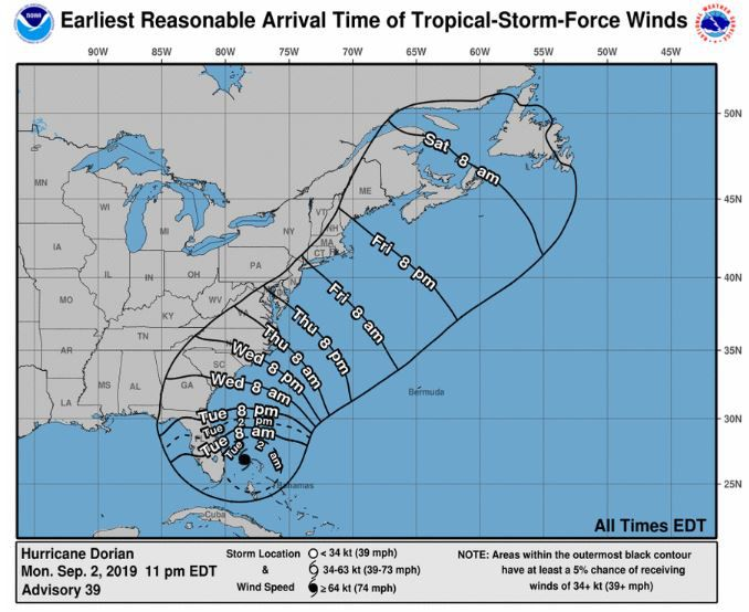 11 pm Monday advisory - Earliest Reasonable Arrival Time of Tropical Storm Force Winds
