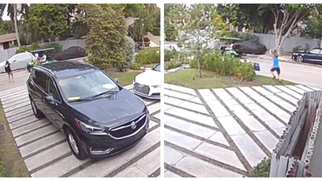 cameras capture golf cart thieves removing biden signs from yards news islandernews com cameras capture golf cart thieves
