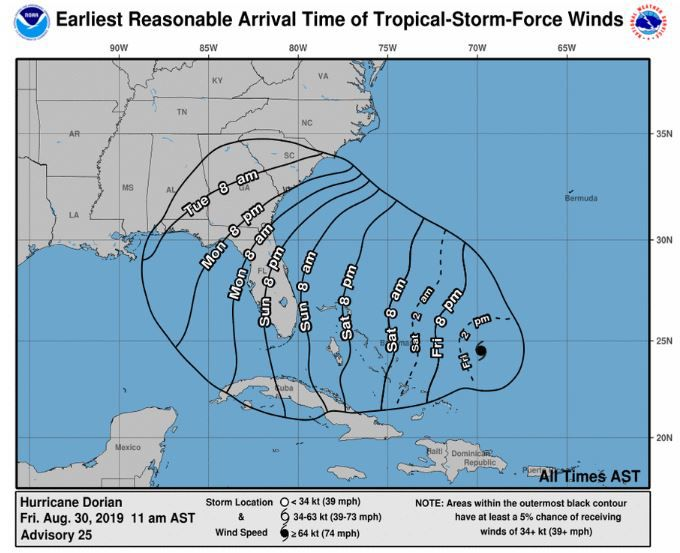 1 am advisory earliest reasonable arrival time of tropical-storm force winds - different than the actual storm