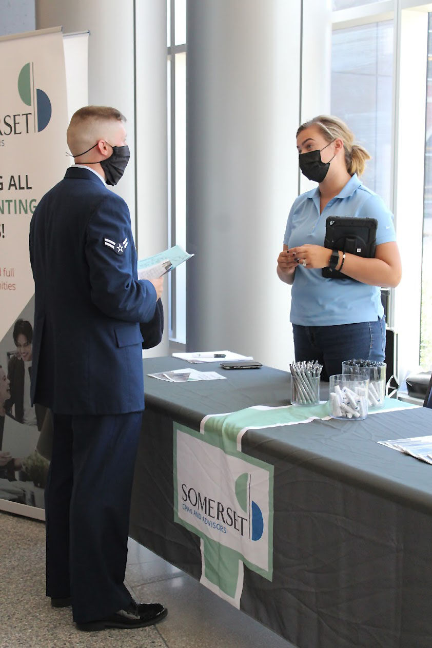 Career Fair: Students meet with prospective employers at the Hulman Center