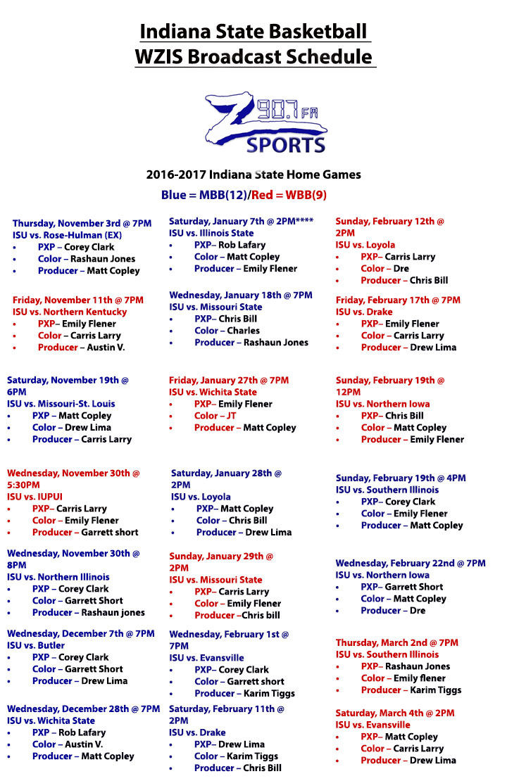 WZIS Basketball Broadcast Schedule