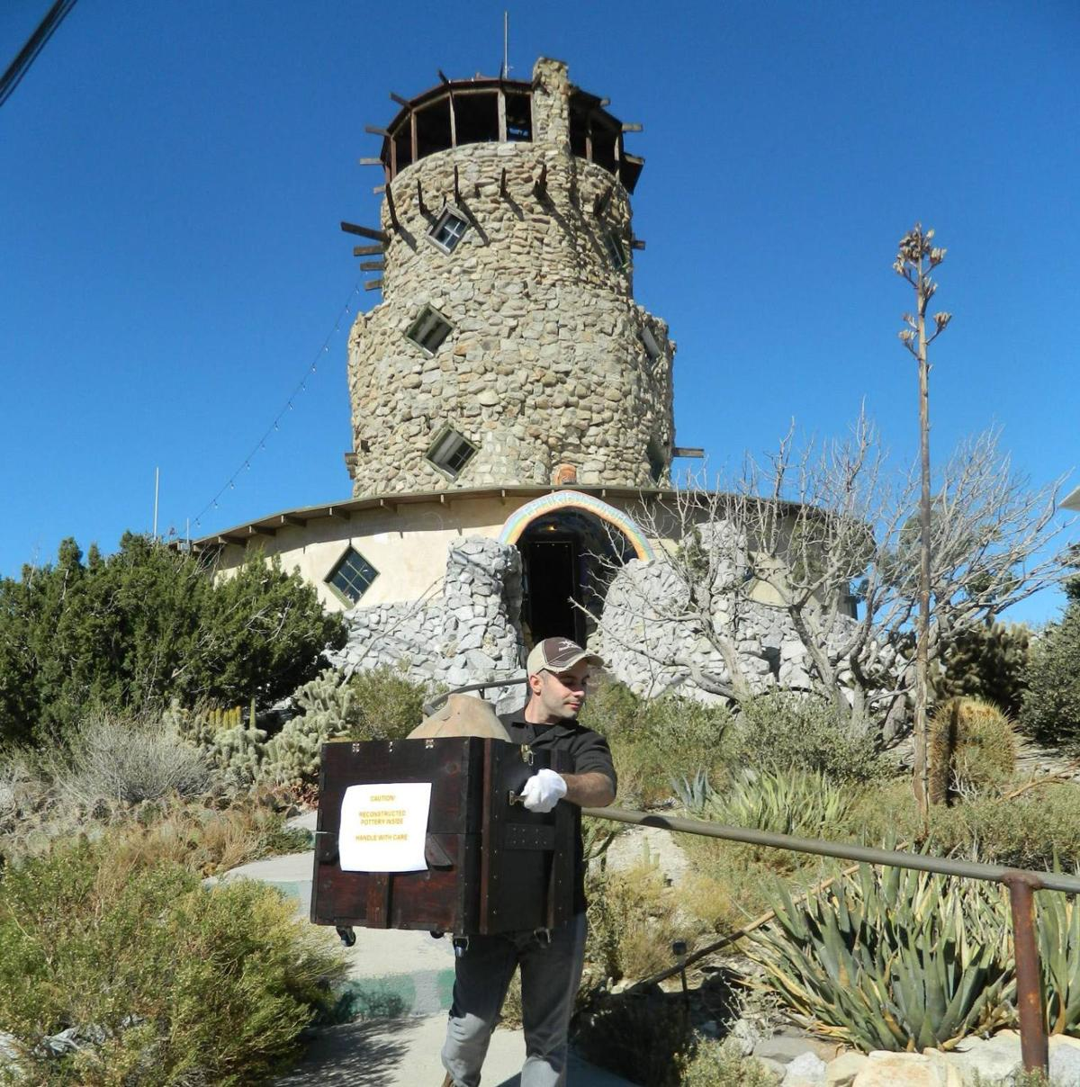 Dr. David Breeckner transporting artifacts from the Desert View Tower