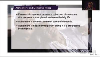 Webinar provides hard facts about Alzheimer's